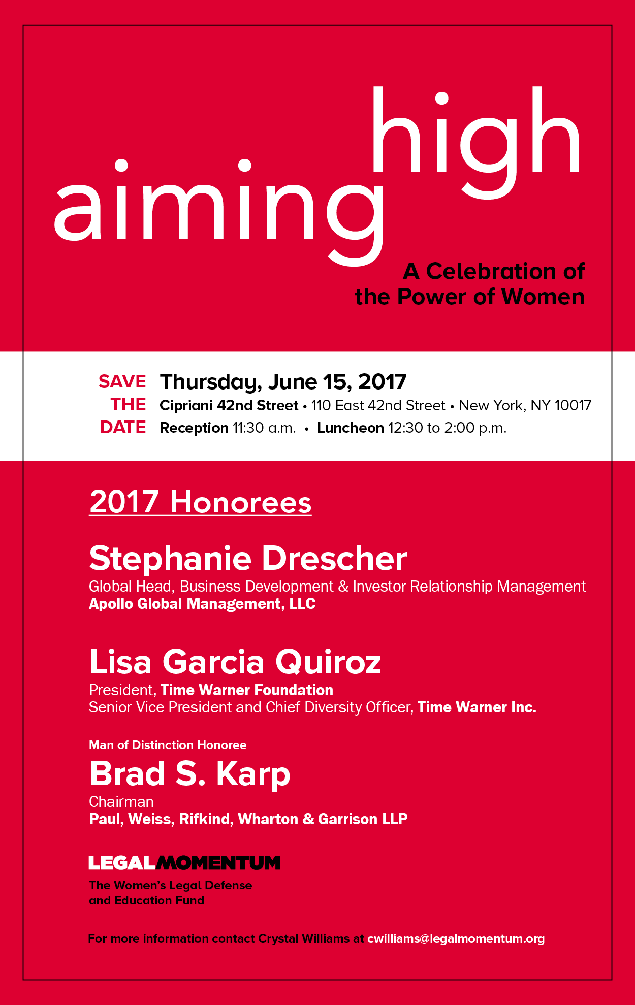 Aiming High 2017 graphic with honorees