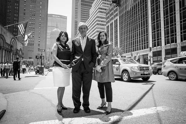 "Carol Robles-Román, David Boies, & Penny Venetis ""stop traffic"" in NYC"