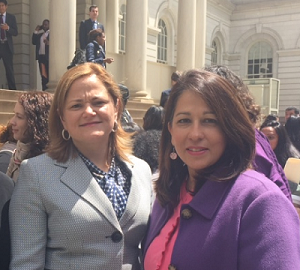 Melissa Mark-Viverito and Carol Robles-Román at City Hall